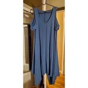 Teal Cold Shoulder Long Dress